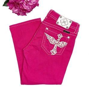 MISS ME Bright Pink Roll Cuff Capri Jeans 30